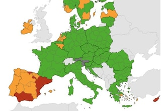 Nuova mappa Ue delle zone a rischio Covid: tutta Italia in verde, aumentano le zone rosse in Spagna
