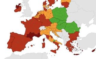 Mappa Ue del rischio Covid: con la Campania diventano 7 le regioni rosse, solo il Molise in verde
