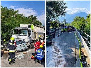 Camion rompe i freni, piomba sulle auto e le trascina per metri: sette feriti a Merano