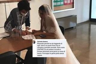 L'insegnante vestita da sposa è l'istantanea di una generazione derubata del futuro