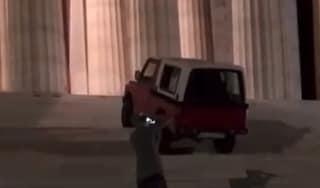Col fuoristrada sulla scalinata del Tempio di Canova: il video online, scattano e indagini