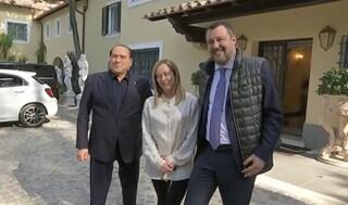 """Salvini e Meloni da Berlusconi, Cdx si compatta: """"D'ora in poi azioni parlamentari condivise"""""""
