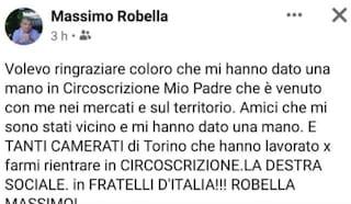 """Dopo le amministrative l'esponente di Fdi Robella ringrazia i tanti """"camerati"""" che lo hanno eletto"""
