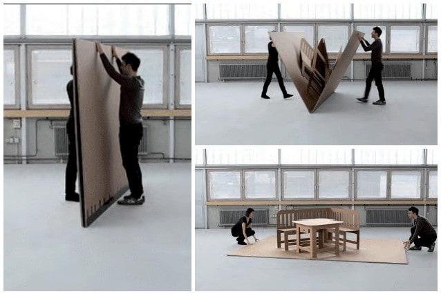 Arredi pop up da sottili cartoni a set completo di mobili
