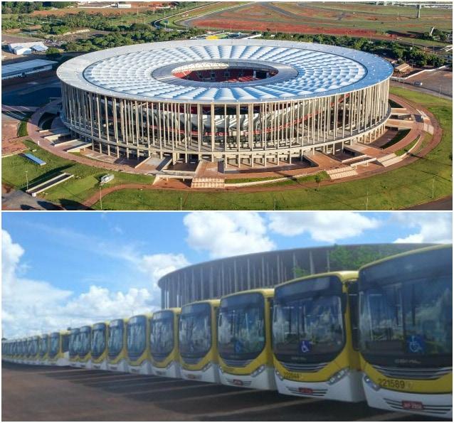 L'Estadio Mane Garrincha di Brasilia trasformato in un deposito di autobus