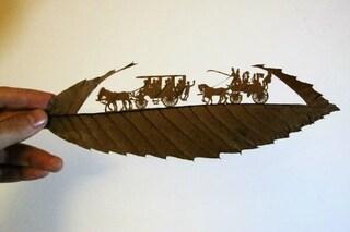 Autunno creativo: le foglie cadute diventano incredibili opere d'arte