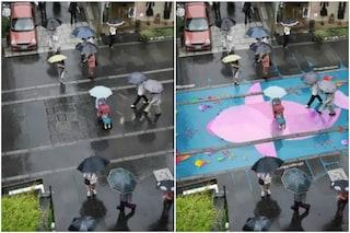 Seoul: ecco il murale che appare solo quando piove