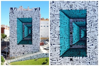 Il palazzo diventa un tunnel spaziale: quando la street art è ingannevole