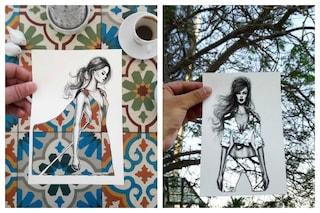 Usa il cielo e gli edifici per creare gli abiti nei suoi schizzi: l'arte di Shamekh Bluwi
