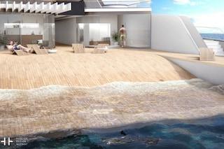 108M: il primo super yacht al mondo con spiaggia privata a bordo