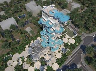 L'edificio con le piscine al posto dei balconi