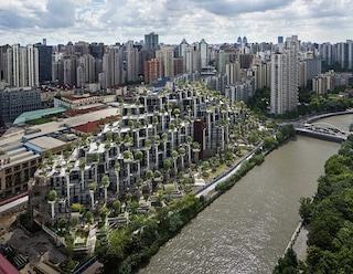 1000 trees, il palazzo verde di Shanghai fatto da due montagne ricoperte da alberi