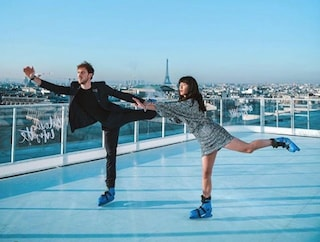 Alle Galeries Lafayette la pista di pattinaggio sul ghiaccio è sul tetto