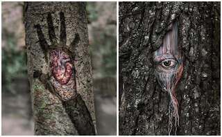"""Diana Yevtukh, l'artista che """"cura le cicatrici"""" degli alberi con i ricami"""
