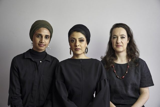 Amina Kaskar, Sumayya Vally and Sarah de Villiers of Counterspace. Photographed by Justice Mukheli in Johannesburg, 2020. © Counterspace