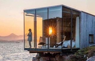 Al Manshausen in Norvegia le cabine sono progettate per sentirsi un tutt'uno con la natura