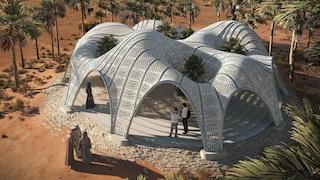 Un padiglione nel deserto che sembra un'oasi marziana stampata in 3D