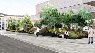 SuperVerde, l'arredo urbano di Stefano Boeri con alberi, piante e panchine