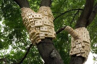 La città ideale fatta di case per uccelli tra gli alberi