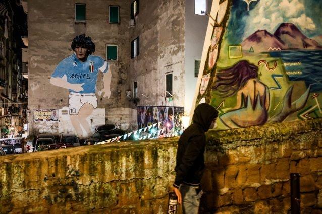 Murale di Diego Armando Maradona ai Quartieri Spagnoli, Napoli. Foto di Alessandro Garofalo/LaPresse