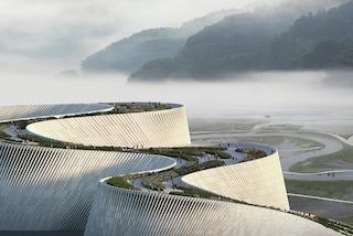 Il nuovo Museo di Storia Naturale di Shenzhen è un parco verde che emerge dall'acqua