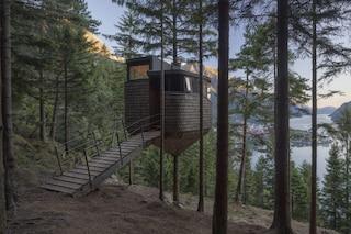 Woodnest, la casa sull'albero con vista sulle colline boscose della Norvegia