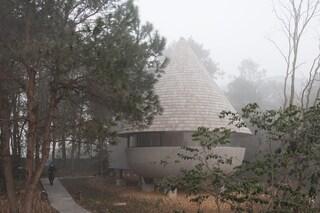 La casa che sembra un fungo in una foresta di pini