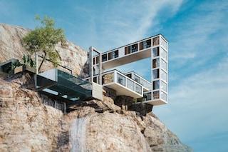 La casa di montagna a sbalzo su una scogliera