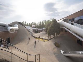 Il tetto deI vecchio magazzino degli anni '70 diventa un parco per bambini unico al mondo