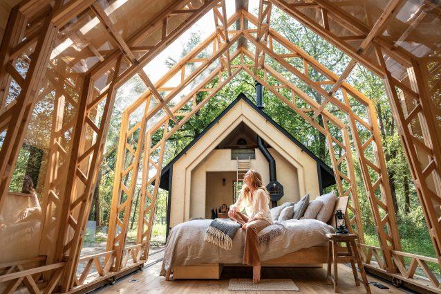 La cabina nel bosco che si espande nella natura è il progetto dell'anno