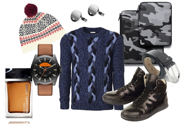 Profumo Michael Kors, cappello Gant, orologio Diesel, pull Malo, gemelli Emporio Armani, cover camouflage Michael Kors, cintura Montblanc, sneakers Puma by Alexander McQueen