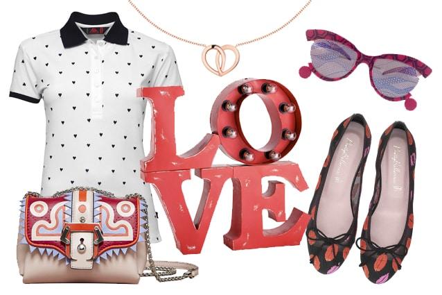Polo Robe di Kappa, mini bag Paula Cademartori, lampada LOVE Maison du Monde, collana Montblanc, occhiali Celebration by Oscar Mamooi, ballerine Pretty Ballerinas