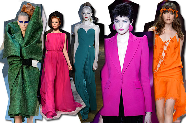 da sinistra Maison Margiela, Schiaparelli, Ulyana Sergeenko, Giorgio Armani Privè, Atelier Versace