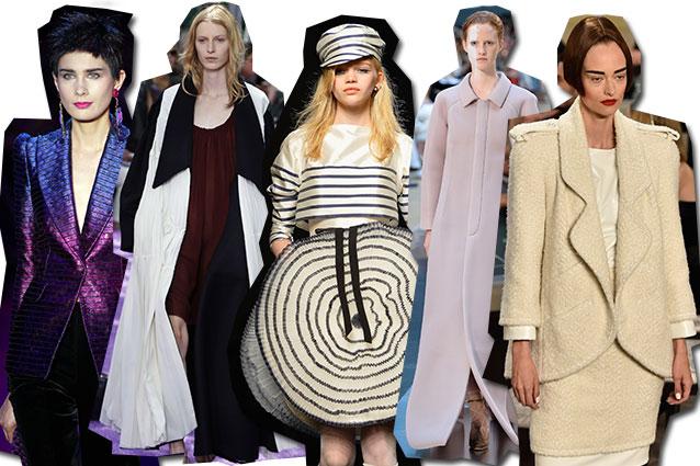 da sinistra Giorgio Armani Privè, Dior, Jean Paul Gaultier, Maison Margiela, Chanel