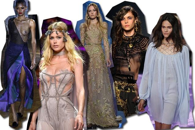 da sinistra Ulyana Sergeenko, Atelier Versace, Elie Saab, Jean Paul Gaultier, Dior