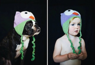 A chi sta meglio il cappello? Bimba e cane diventano protagonisti delle stesse foto
