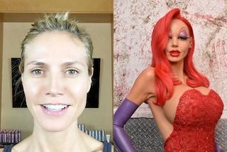 Heidi Klum irriconoscibile ad Halloween: 10 ore di trucco per diventare Jessica Rabbit
