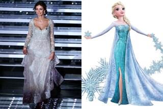 """Madalina Ghenea in versione Elsa di """"Frozen"""": il web apprezza i look della seconda serata"""