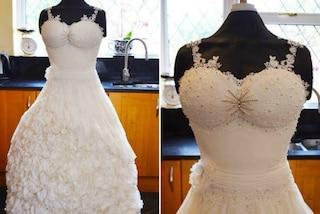 Sembra un abito da sposa ma è una torta nuziale