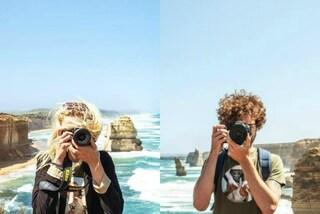 Gli scatti mentre si fotografano a vicenda: l'idea unica della coppia in giro per il mondo