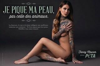 """""""Marchio il mio corpo, non quello degli animali"""": Fanny Maurer posa nuda per la Peta"""