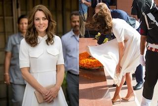 Kate Middleton come Marilyn, il vento le alza la gonna scoprendo le gambe