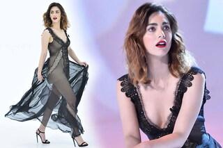 """Il nude look di Miriam Leone: abito lingerie per """"Le iene show"""""""