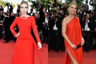 Kate e Lottie come due gemelle: le sorelle Moss sfilano a Cannes entrambe in rosso
