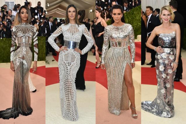 da sinistra: Jourdan Dunn, Alessandra Ambrosio, Kim Kardashian in Balmanin e Naomi Watts in Burberry