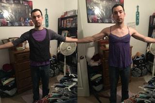 Indossa i top XL della fidanzata, così dimostra che le taglie femminili sono sessiste