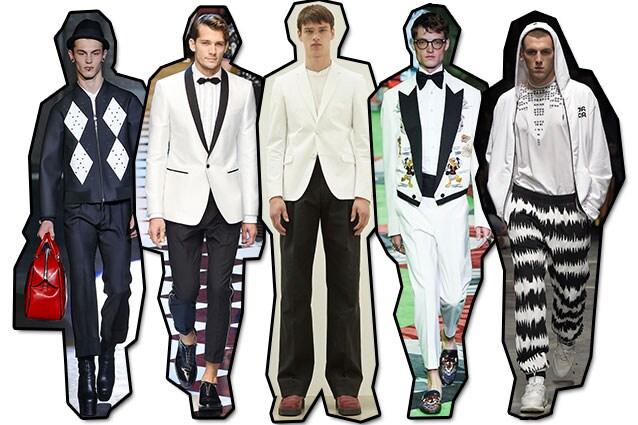 Da sinistra: Dsquared2, Dolce e Gabbana, Calvin Klein, Gucci, Marcelo Burlon County of Milan