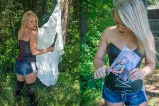 Il marito la tradisce, lei realizza un servizio di foto in cui fa a pezzi l'abito da sposa