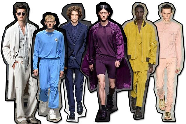 Da sinistra: Trussardi, Marcelo Burlon County of Milan, Salvatore Ferragamo, Versace, Damir Doma, Diesel Black Gold