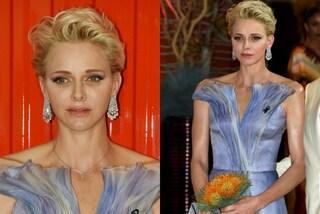 """Charlene di Monaco """"sboccia"""" dall'abito come un fiore: è una vera principessa"""